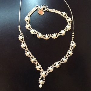 Jewelry - Pearl and cubic zirconia necklace and bracelet